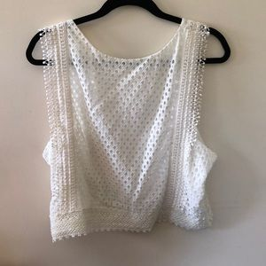 NEW with Tag. H&M white eyelet crop top